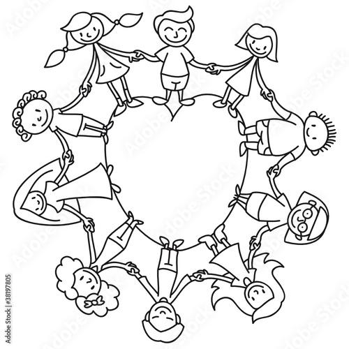 Kinderkreis clipart  Kinderkreis, Herz, Ausmalbild