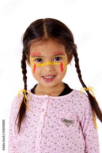 petite fille avec couettes et maquillage indien photo. Black Bedroom Furniture Sets. Home Design Ideas