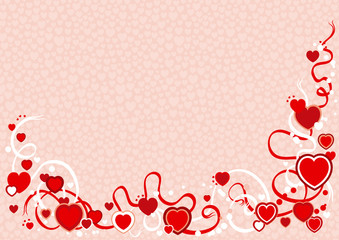 Vector valentines background with hearts and ribbons