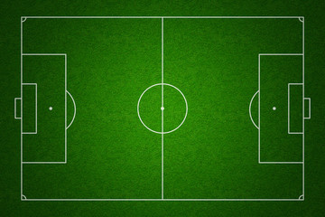 Soccer or football field top view with proper standard markings