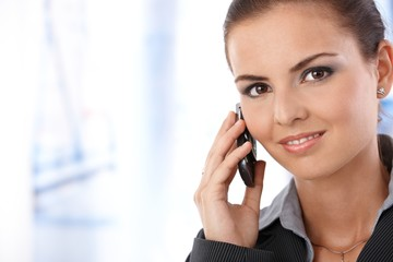 Portrait of attractive female on phone call