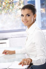 Attractive girl working in office smiling