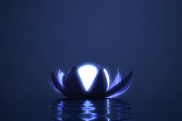 Wall Mural - Zen flower lotus with glowing sphere