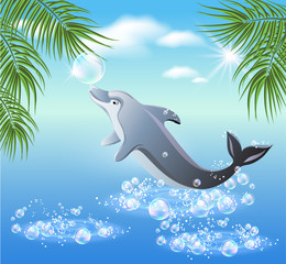 Photo sur Aluminium Dauphins Dolphins leaps from water