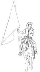 rider on horseback with a flag. series of Wild West