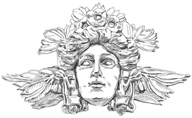 Woman's face with olive branches and flowers woven into the hair