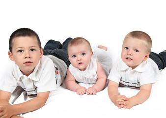 Children posing for family photo