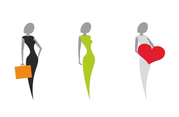 Icon set of stylized women's silhouettes in a symbol form
