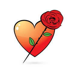 rose and heart glossy icon