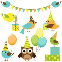 Vector set of party birds