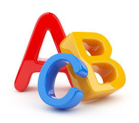Colorful symbols heap  of alphabet. Icon  3D.  Education concept