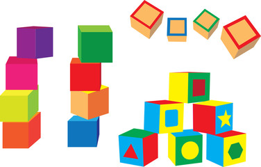 different blocks on a white background