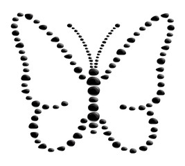 Butterfly shape from black stones