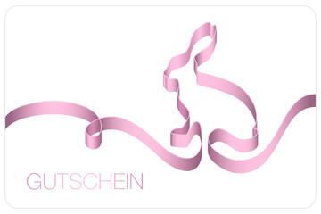 Gutschein Osterhase Schleifenband rosa
