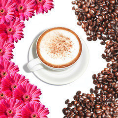 hot cappuccino cup decorated with flowers and coffee beans