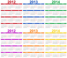 Set of colour 2012, 2013 and 2014 Calendar