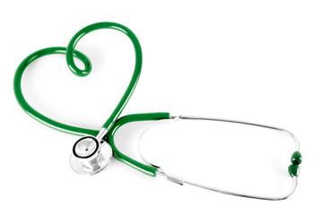Papier Peint - stethoscope in shape of heart, isolated on white