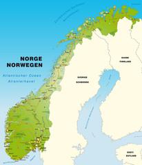 Norwegen mit Verkehrsnetz