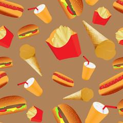 Fastfood cafe seamless pattern
