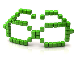 Glasses icon made of green cubes