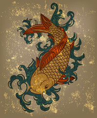 vector japanese koi carp fish on grungy background
