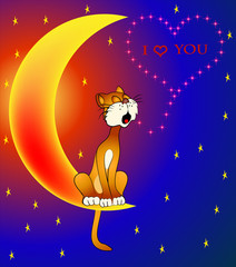 Printed roller blinds Heaven cat sings sitting on moon about love for day Valentina
