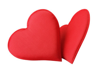 Fabric Red Hearts