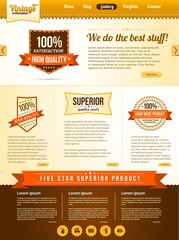Vector vintage guarantee website template