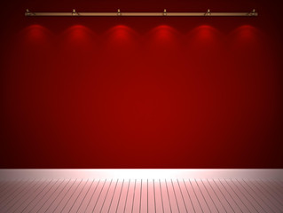 Illuminated red wall
