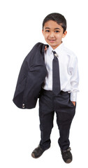 Handsome Little Boy in a Business Suit, Isolated, White