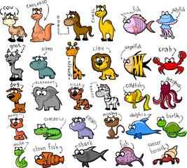 Большой набор мультфильмов животных и рыб