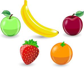 Мультфильм апельсин, банан, яблоки, клубника