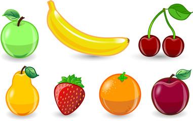 Мультфильм апельсин, банан, яблоко, клубника, груша, вишня