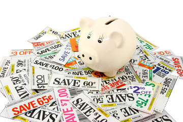 Piggy Bank With Many Grocery Coupons
