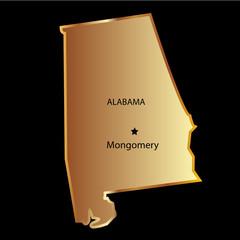 Alabama state usa map with capital name