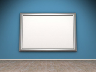 Blank frame on blue wall in the room