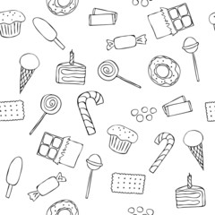 Seamless pattern with graphic sweets