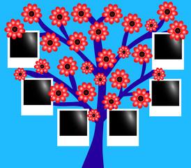 Дерево с фотографиями синее