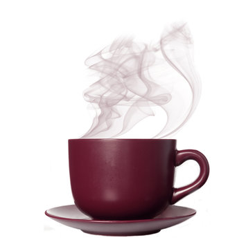 The perfect brown cup with steaming coffee on a white background