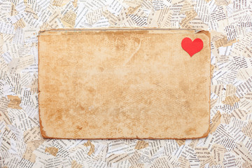 grunge paper card with heart