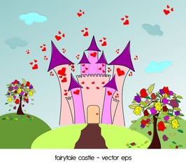 Castle of love with roses trees