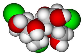 Sucralose space filling molecular model