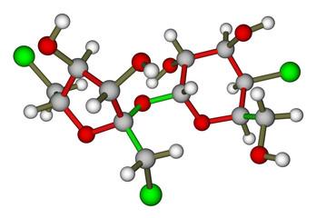 Sucralose molecular model