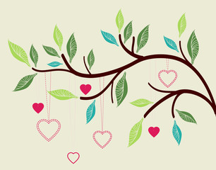 Beautiful background with tree branch and hearts