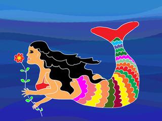 Meerjungfrau mit Blume