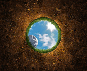Aluminium Prints Golf Golf Ball Falling