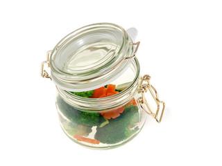 steamed vegetables in a jar