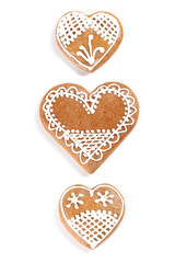Gingerbread hearts on white background