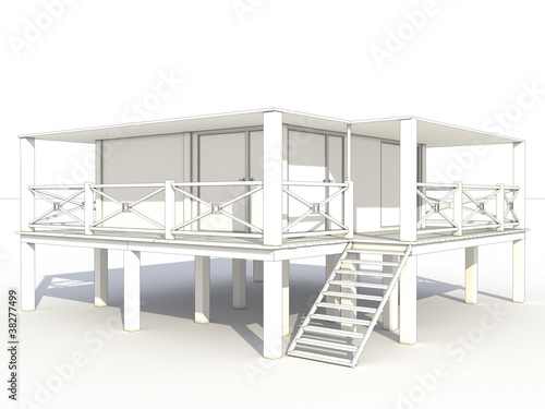 3d drawing of a beach house 1 - Beach House Drawings