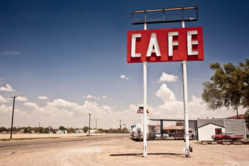 Fotobehang Route 66 Cafe sign along historic Route 66 in Texas.